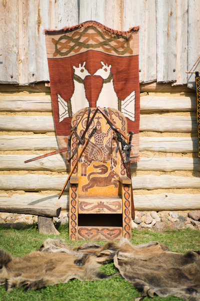Old throne of slavic prince Stock photo © Hochwander