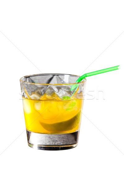 Limon kokteyl yalıtılmış beyaz lezzetli cam Stok fotoğraf © Hochwander