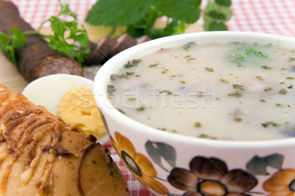 Zuur soep ei worst brood traditioneel Stockfoto © Hochwander