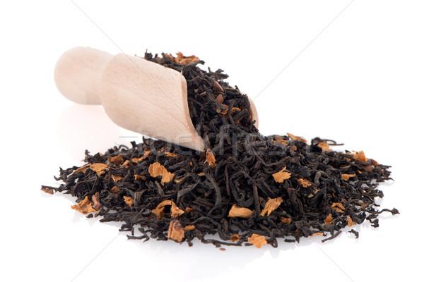 Negro secar té cuchara de madera blanco Foto stock © homydesign