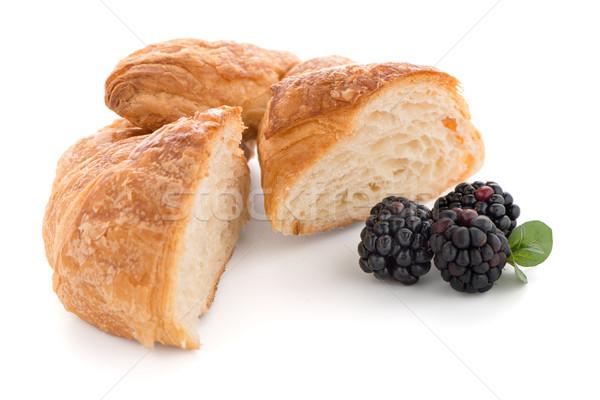 Croissant frescos blanco alimentos desayuno Foto stock © homydesign