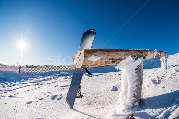 スノーボード 木材 レール 冬 雪 ストックフォト © homydesign
