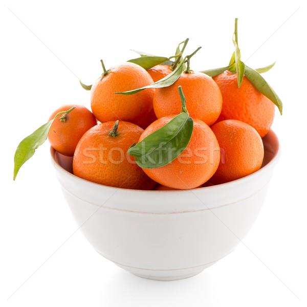 Stock photo: Tangerines on ceramic white bowl
