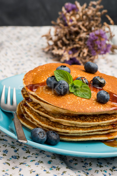 Pancakes with fresh blackberries Stock photo © homydesign