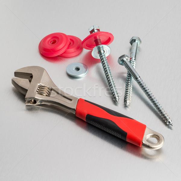 Moersleutel tool metaal afwerking werk technologie Stockfoto © homydesign