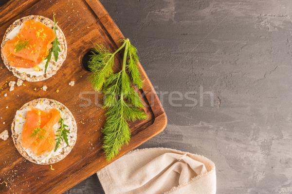 Wędzony łosoś ryżu chleba krem ser Zdjęcia stock © homydesign