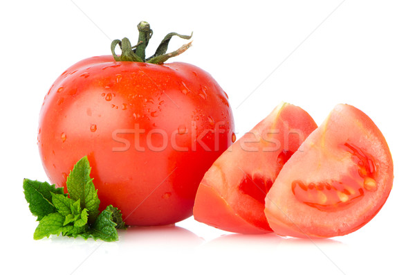 Tomates rouge isolé blanche alimentaire fond Photo stock © homydesign