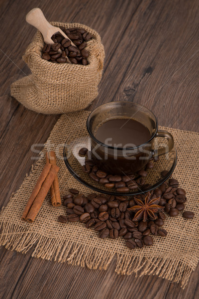 Coffee cup with burlap sack Stock photo © homydesign