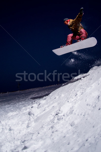 Snowboarder jumping Stock photo © homydesign