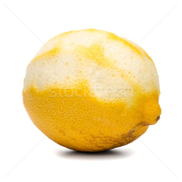 Soyulmuş limon meyve yalıtılmış beyaz renk Stok fotoğraf © homydesign
