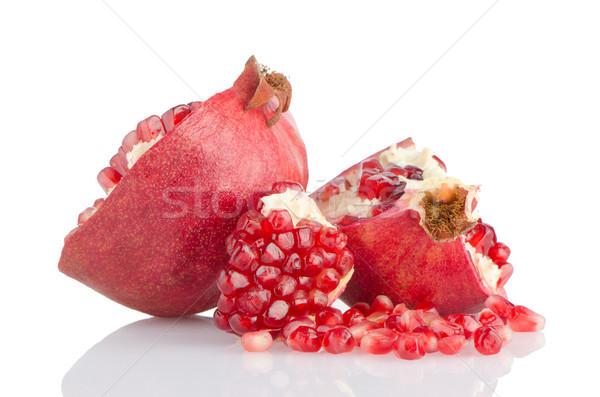 Metà melograno frutta rotto bianco salute Foto d'archivio © homydesign