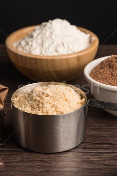 Muffins ingrédients table en bois lumière chocolat Photo stock © homydesign