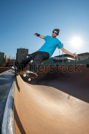 BMX Bike Stunt Wall Ride Stock photo © homydesign