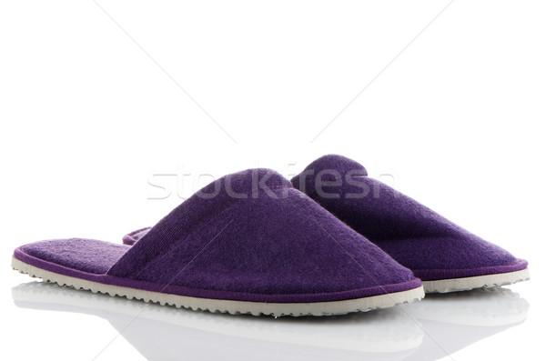 Paar paars slippers witte huis ontwerp Stockfoto © homydesign