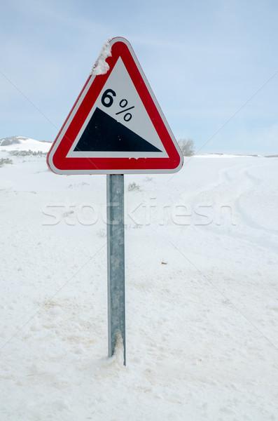 Dik tepe uyarı tabelasını imzalamak hızlandırmak Stok fotoğraf © homydesign