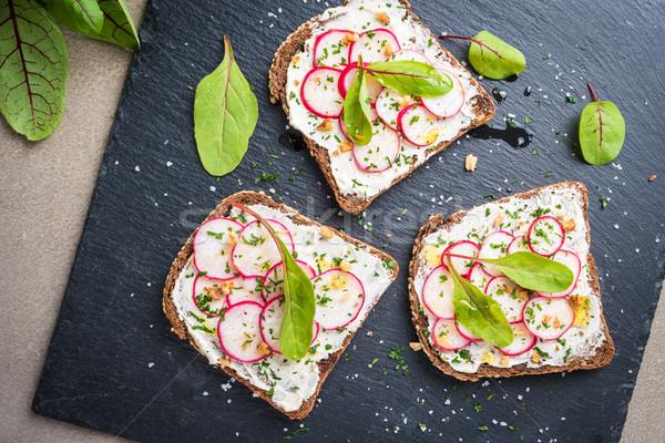 ベジタリアン サンドイッチ ソフト クリーム チーズ ストックフォト © homydesign