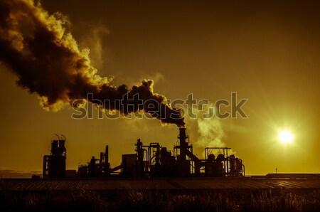 Smoking chimney  at sunset  Stock photo © homydesign