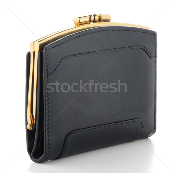 черный кожа кошелька изолированный белый деньги Сток-фото © homydesign