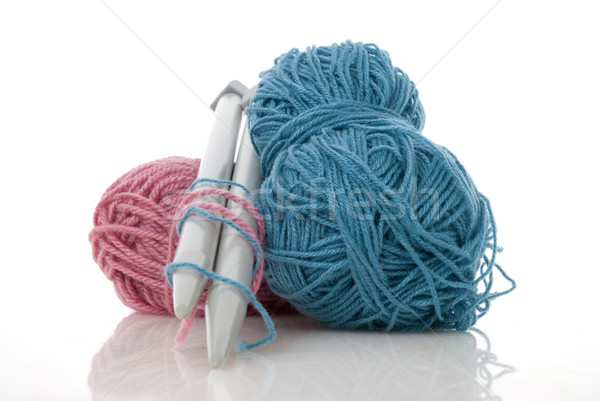 Blue and pink  knitting wool Stock photo © homydesign