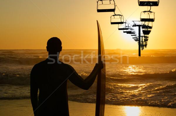 Foto stock: Surfista · viendo · olas · océano · silla · ascensor