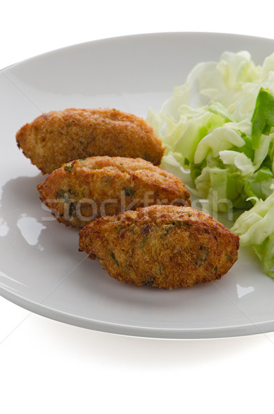 Fried breaded cod fish Stock photo © homydesign