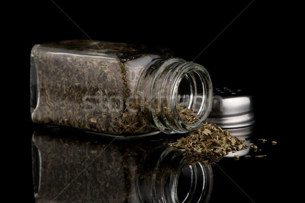 Oregano bloem glas gezondheid zwarte plant Stockfoto © homydesign
