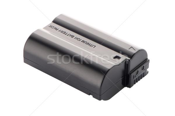 Foto stock: Câmera · bateria · empacotar · isolado · branco · fundo