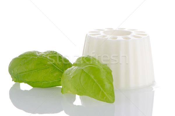 Сток-фото: белый · свежие · сыра · базилик · листьев