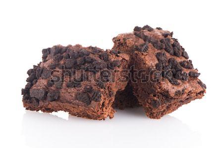 Chocolate postre blanco fondo torta comer Foto stock © homydesign
