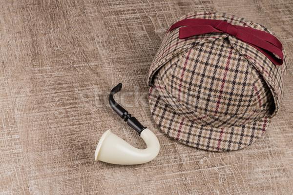 Sherlock Hat and Tobacco pipe Stock photo © homydesign