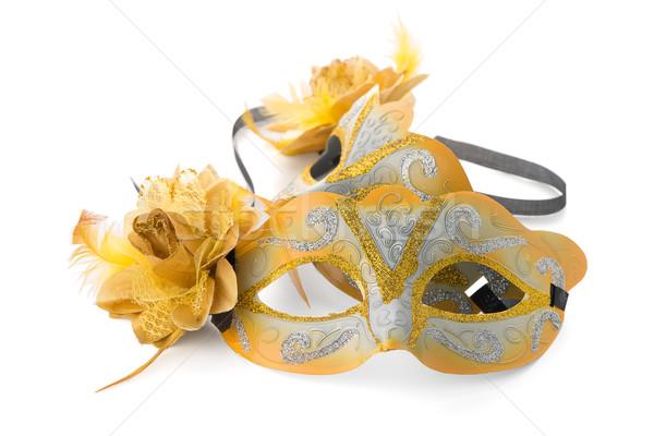 Kettő citromsárga velencei maszkok buli fehér Stock fotó © homydesign