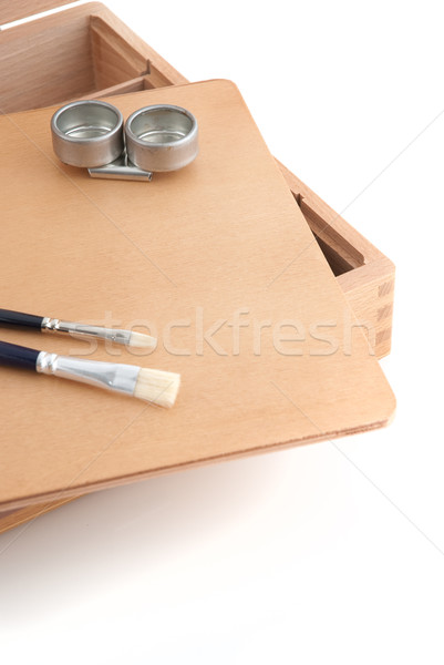 Wooden painter case with brushes Stock photo © homydesign
