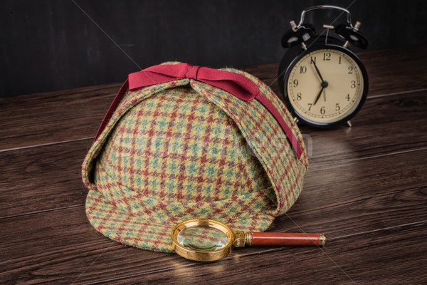 Sherlock Hat and magnifying glass Stock photo © homydesign