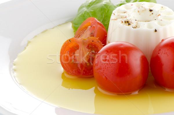 新鮮な サラダ ヤギ乳チーズ トマト バジル ペスト ストックフォト © homydesign
