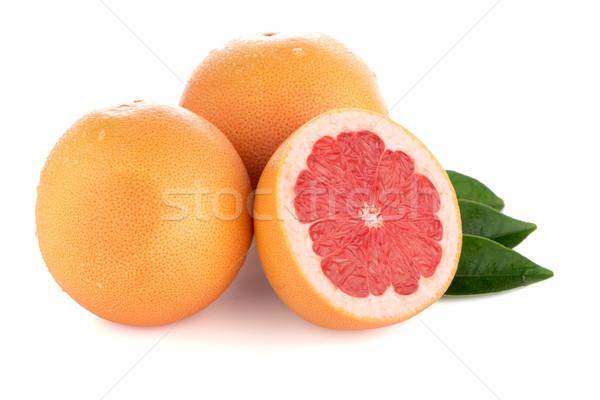 зрелый Cut красный грейпфрут изолированный белый Сток-фото © homydesign
