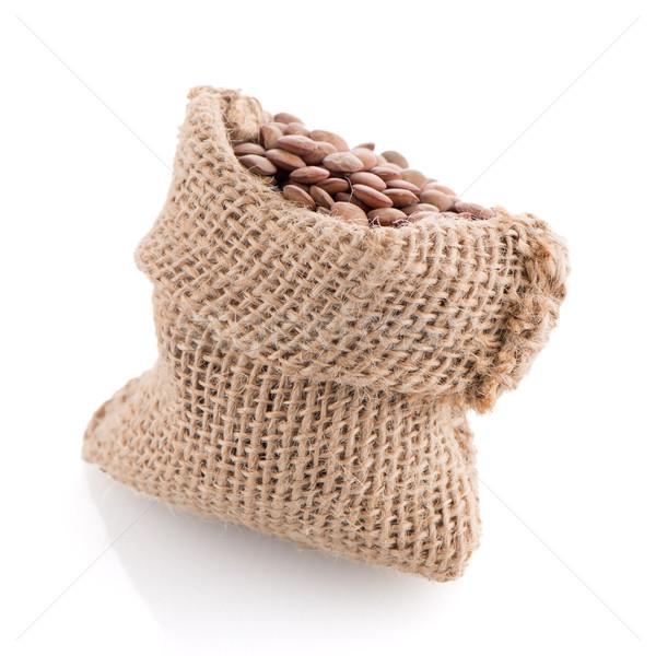 黄麻布 袋 木製 スクープ 白 ストックフォト © homydesign
