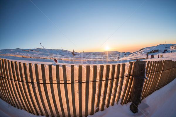 Sunset on Ski Park Stock photo © homydesign
