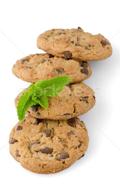Stockfoto: Chocolade · cookies · mint · bladeren · geïsoleerd · witte