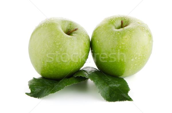 Foto stock: Dois · fresco · verde · maçãs · branco · maçã