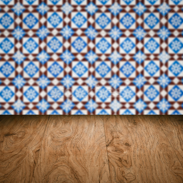 Fa asztal felső homály klasszikus kerámia csempe Stock fotó © homydesign