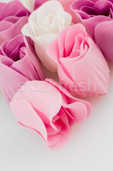 Jabón rosas rosa púrpura blanco hermosa Foto stock © homydesign