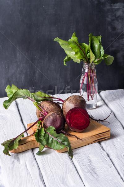 Rusztikus fa asztal fehér festett étel háttér Stock fotó © homydesign