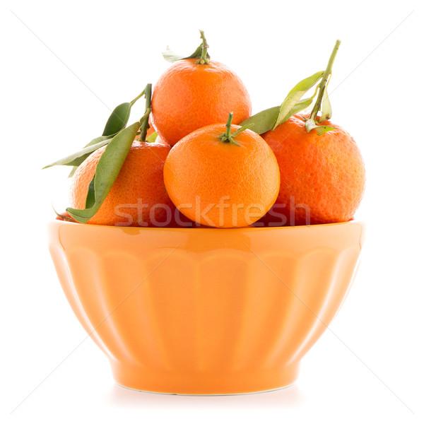 Cerâmico laranja tigela isolado branco comida Foto stock © homydesign