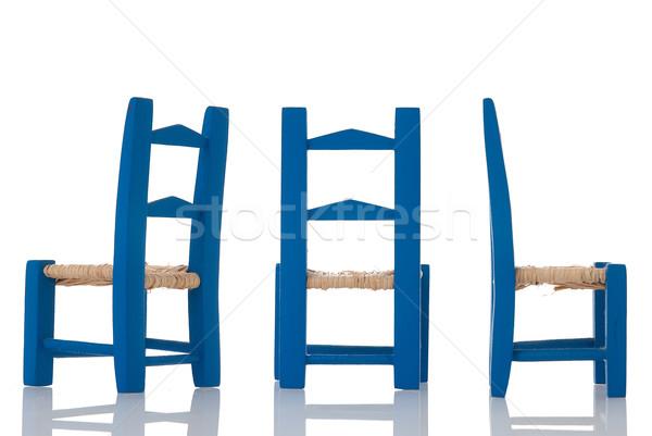 Oscuro azul silla aislado blanco ninos Foto stock © homydesign
