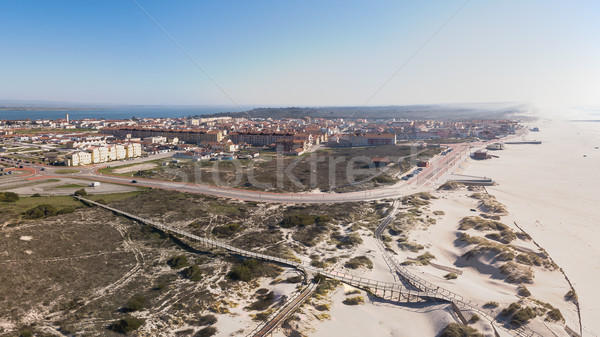 Aerial view of Torreira beach Stock photo © homydesign