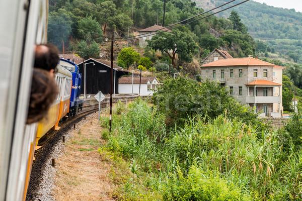 Historisch trein treinstation bank rivier Stockfoto © homydesign