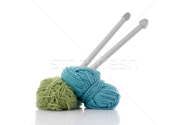 Blue and green  knitting wool Stock photo © homydesign