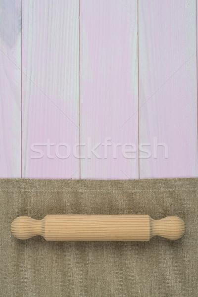 Sprzęt kuchenny beżowy ręcznik stół kuchenny widok z góry Zdjęcia stock © homydesign
