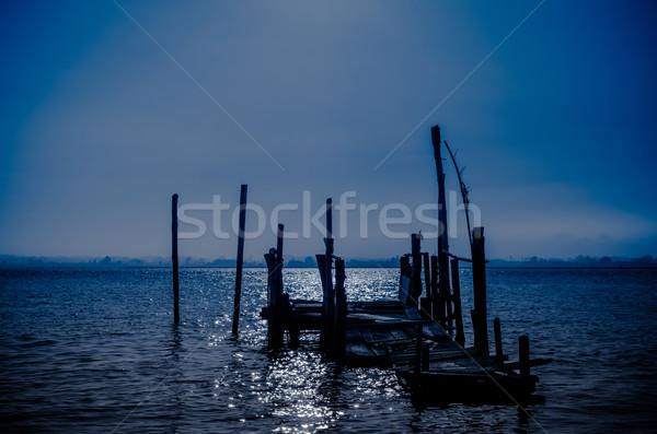 Vieux quai lune lumière réflexion pêche Photo stock © homydesign