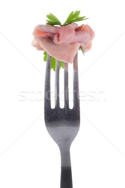 Slice of ham skewered on a fork  Stock photo © homydesign
